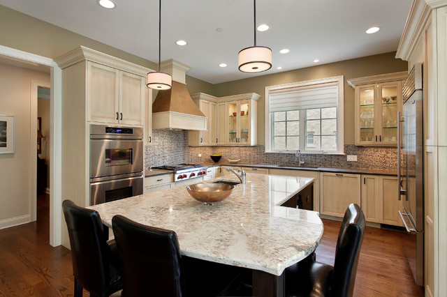 Wolf Rangetop Kitchen Traditional with Counter Stools Drum Shades