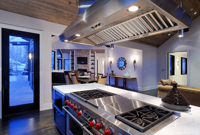 Wolf Stoves Kitchen Rustic with Ceiling Lighting Dark Floor