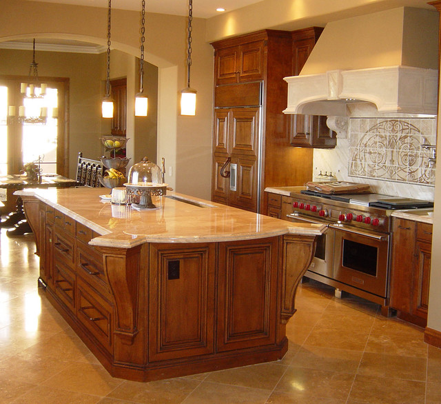 Wolf Stoves Kitchen Traditional with Arch Doorway Chandelier Double1