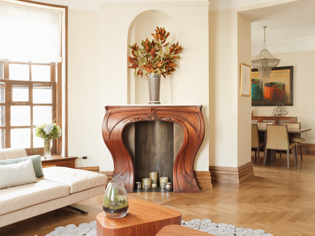 Wood Fireplace Mantels Living Room Transitional with Art Nouveau Mantel Beige