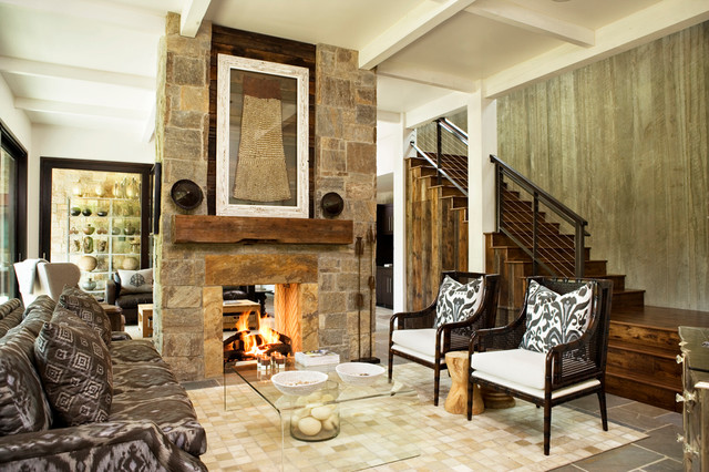 Wood Mantels Family Room Eclectic with Area Rug Caned Armchairs