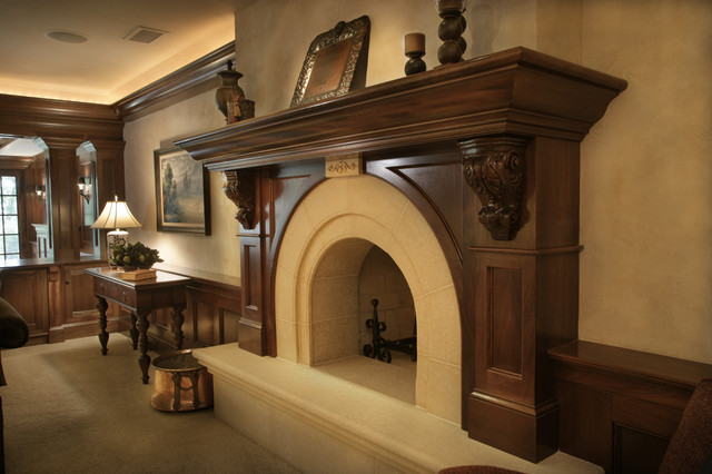 Wood Mantels Family Room Traditional with Beige Carved Stone Carved