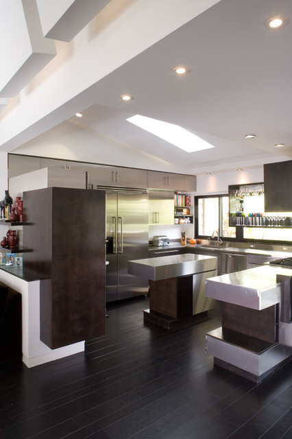 Wood Mode Cabinets Kitchen Contemporary with Articulated Ceilings Dark Wood