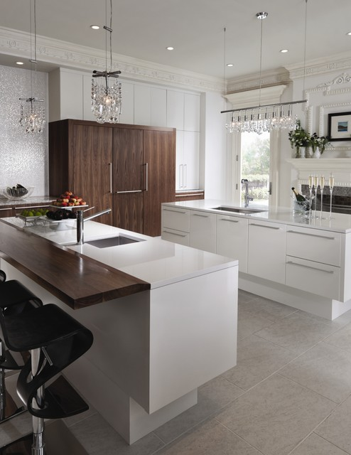 Wood Mode Cabinets Kitchen Contemporary with Cabinet Front Refrigerator Crown