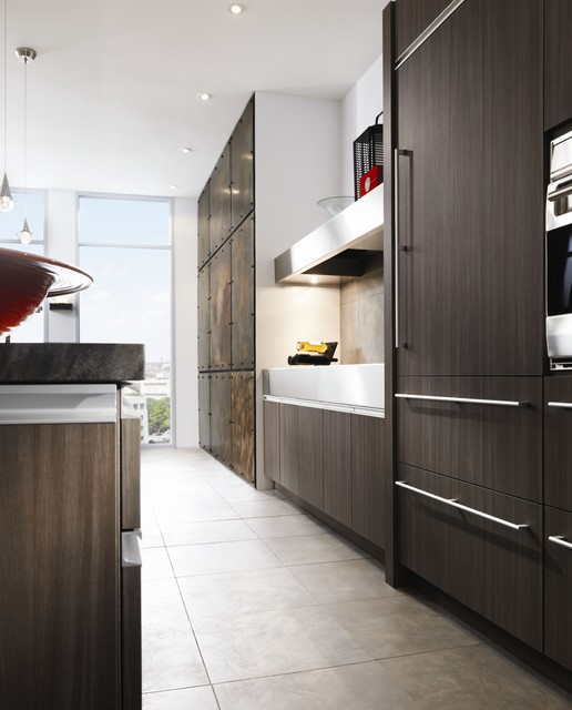 Wood Mode Cabinets Kitchen Contemporary with Dark Stained Wood Floor