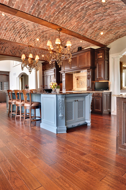 Wood Mode Cabinets Kitchen Mediterranean with Arches Barrel Vault Ceiling