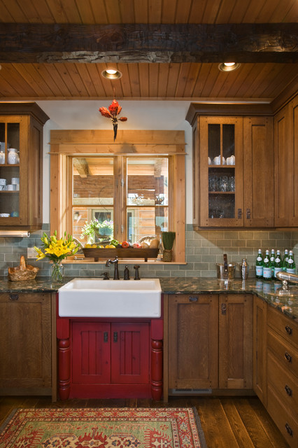 Wood Mode Cabinets Kitchen Rustic with Early American Glass Front Cabinets