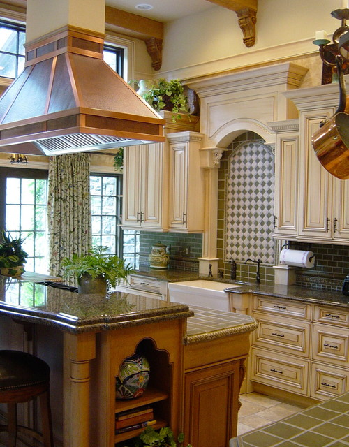 Wood Mode Cabinets Kitchen Traditional with 12 Foot Ceiling Beam1