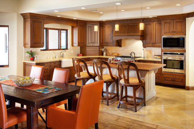 Wood Mode Cabinets Kitchen Transitional with Counter Stools Pendant Lighting