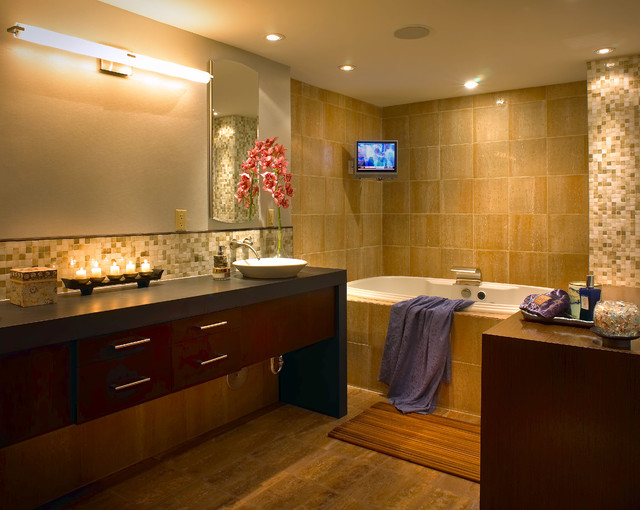Wooden Bath Mat Bathroom Contemporary with Aventura Brickell Coconut Grove