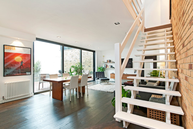 Wooden Step Ladder Dining Room Contemporary with Exposed Brick Ladder Staircase