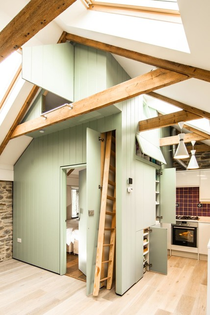 Wooden Step Ladder Kitchen Farmhouse with Compact Size Exposed Beams
