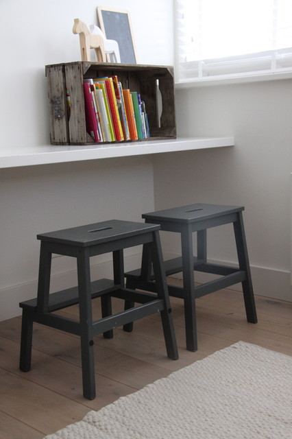 Wooden Step Stool Kids Contemporary with Blinds Books Boys Room