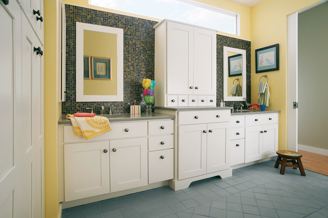 Woodmark Cabinets Bathroom Traditional with Bathroom Storage Blue Tile1