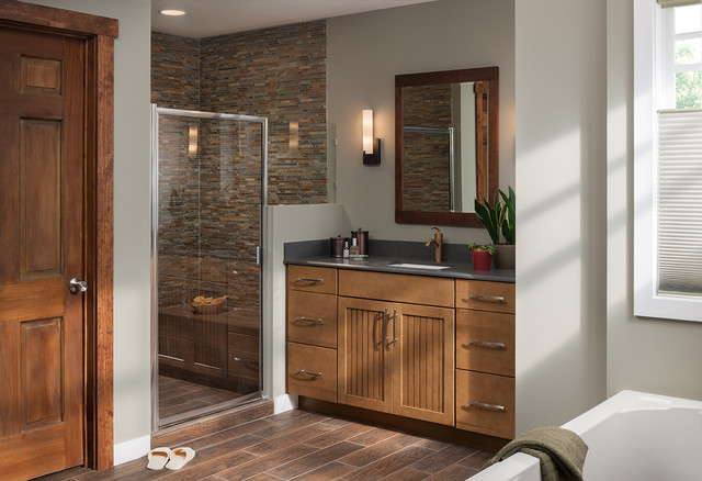 Woodmark Cabinets Bathroom Traditional with Framed Mirror Gray Countertop1