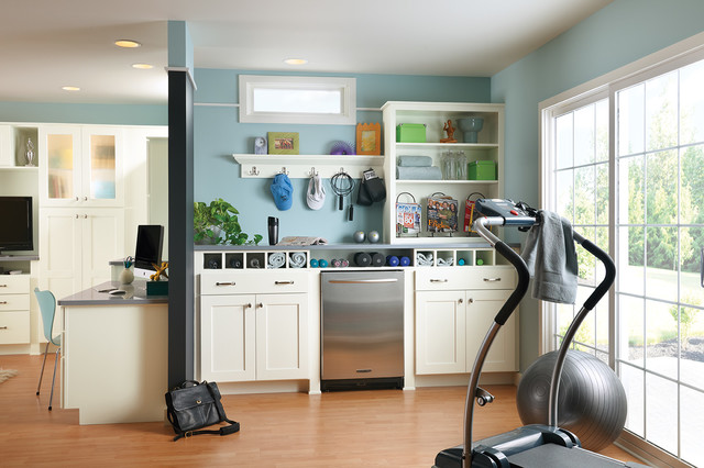 Woodmark Cabinets Home Gym Traditional with Basement Exercise Equipment Home