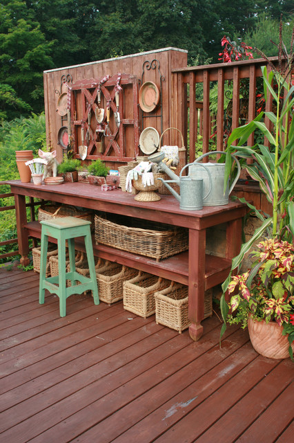 Workbench Ideas Deck Shabby Chic with Container Plants Deck Plate