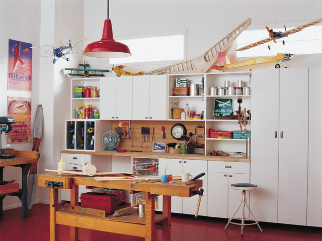 Workbench Ideas Garage and Shed Eclectic with Built in Closets Built