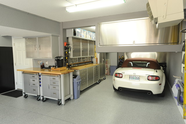 workbench ideas Garage And Shed Modern with accessories built in built-in