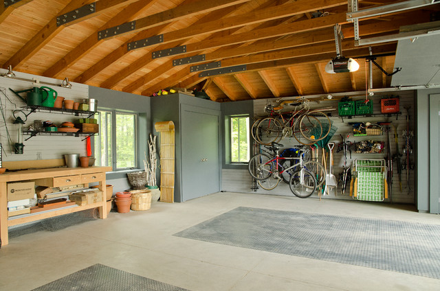Workbench Ideas Garage and Shed Traditional with Bike Storage Fir Rafters
