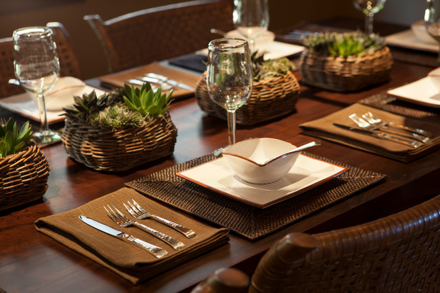 Woven Placemats Dining Room Rustic with Claro Walnut Crate And