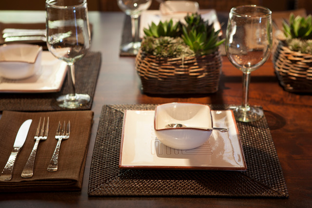 Woven Placemats Dining Room Rustic with Claro Walnut Crate And1
