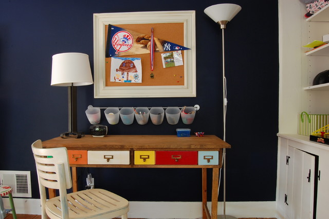 Writing Desk with Drawers Kids Farmhouse with Bulletin Board Colorful Dark