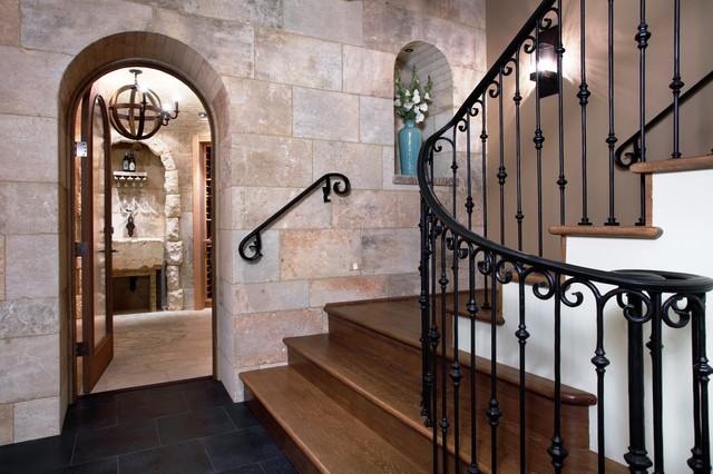Wrought Iron Balusters Staircase Mediterranean with Arched Doorway Beige Black