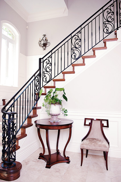 Wrought Iron Balusters Staircase Victorian with Beige Side Chair Beige