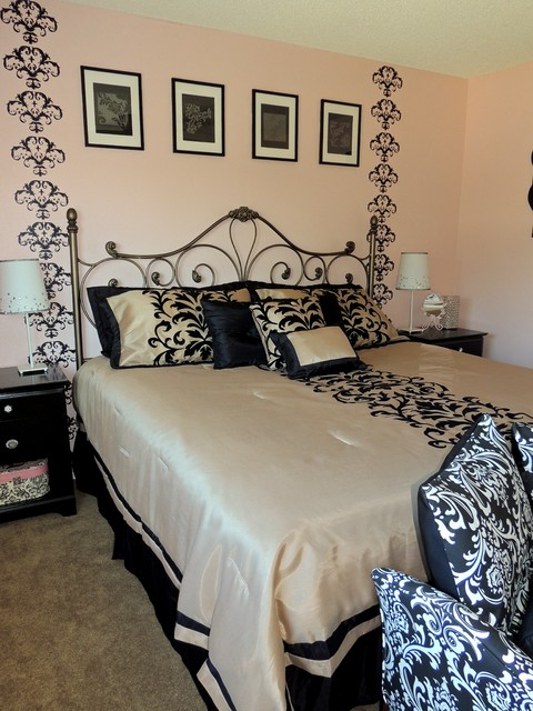Wrought Iron Bed Frames Bedroom Transitional with Black Pillows Black Side