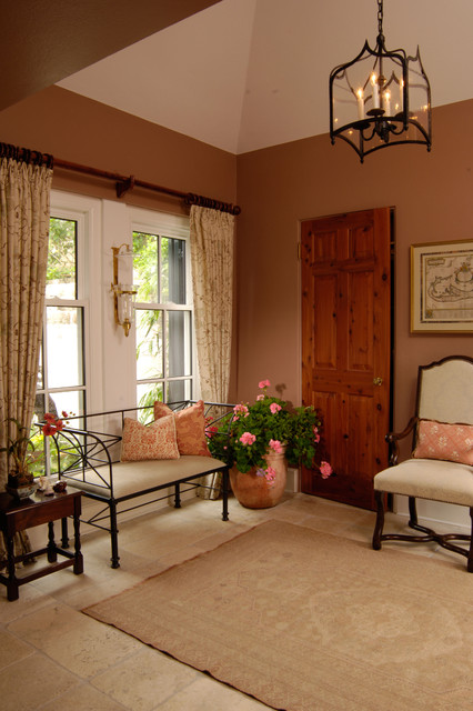 Wrought Iron Bench Entry Traditional with Curtains Drapes Foyer Lantern