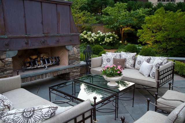Wrought Iron Bench Patio Traditional with Backyard Cushions Fireplace Hood