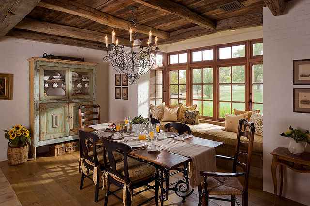 wrought iron chandeliers Dining Room Farmhouse with casement windows Distressed paint