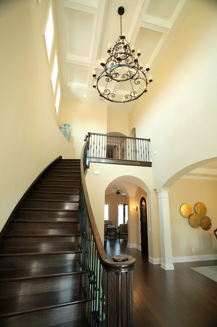 Wrought Iron Chandeliers Entry Mediterranean with Clerestory Coffered Ceiling Dark