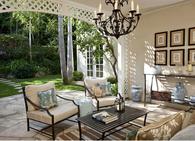 Wrought Iron Chandeliers Patio Traditional with Arched Doorway Beige Walls