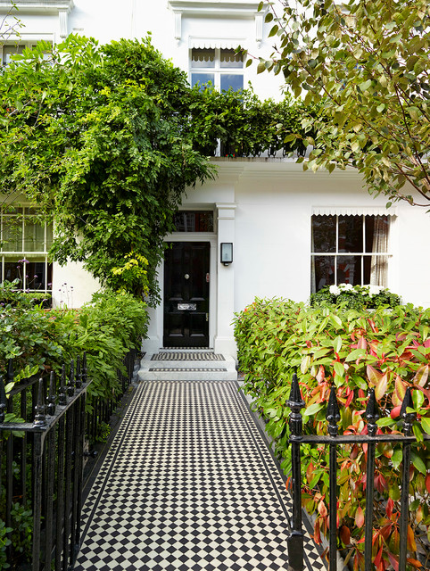 Wrought Iron Fencing Entry Traditional with Architectural Details Black Front