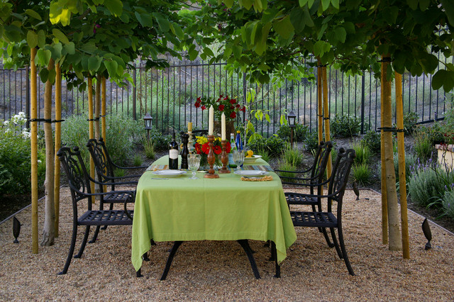 Wrought Iron Fencing Patio Mediterranean with Alfresco Dining Black Fence