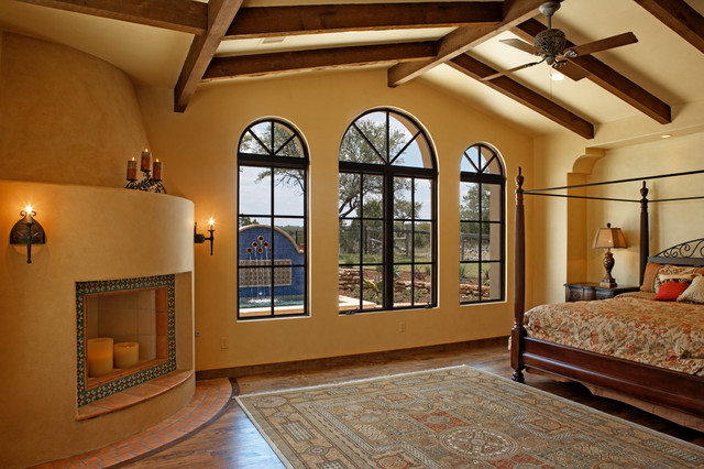 Wrought Iron Headboard Bedroom Southwestern with Arch Windows Candles Ceiling