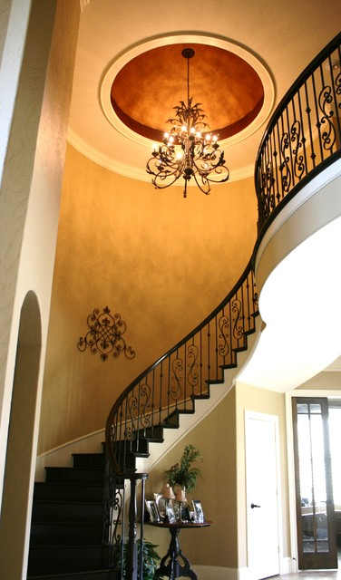 Wrought Iron Railing Entry Traditional with Ceiling Treatment Chandelier Console