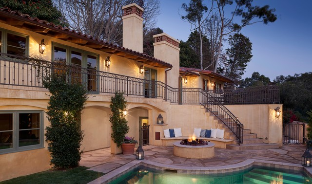 Wrought Iron Railings Exterior Mediterranean with Arched Openings Built In