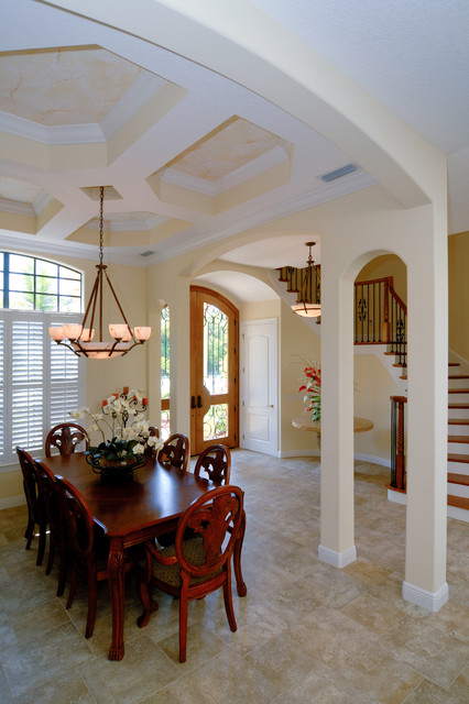 Wrought Iron Spindles Dining Room Traditional with Brevard County Coffered Ceiling