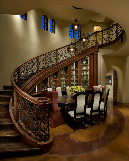 Wrought Iron Spindles Dining Room Traditional with Arch Arched Window Archway