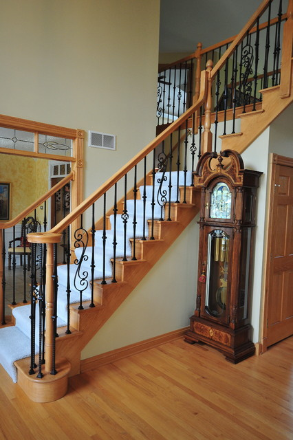 wrought iron stair railing Staircase Traditional with CategoryStaircaseStyleTraditionalLocationChicago