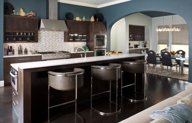Yorktowne Cabinets Kitchen Contemporary with Archway Barstools Breakfast Bar