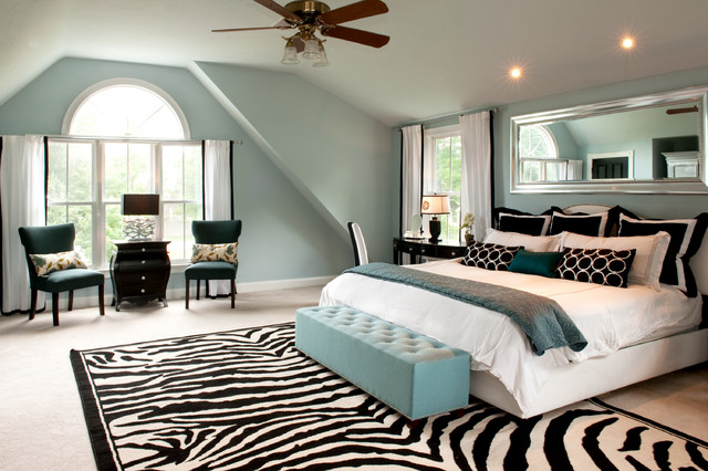 Zebra Print Rug Bedroom Traditional with Arched Window Attic Black