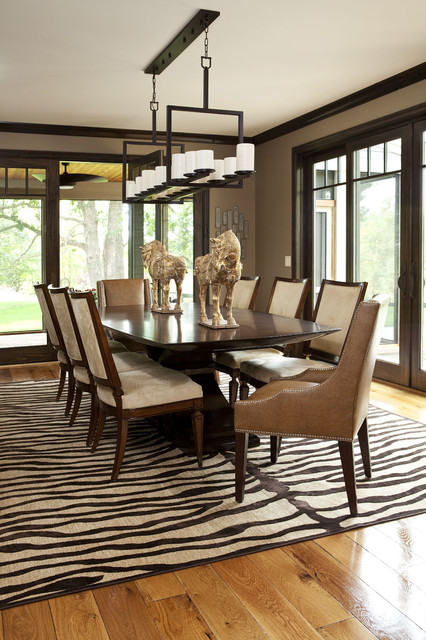 Zebra Print Rug Dining Room Transitional with Area Rug Centerpiece Chandelier