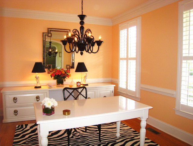Zebra Print Rug Home Office Transitional with Area Rug Baseboards Chandelier
