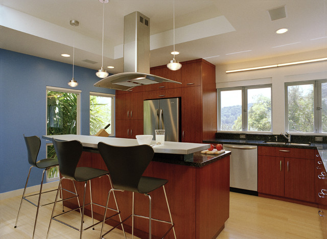 Zephyr Hoods Kitchen Contemporary with Accent Wall Barstools Black