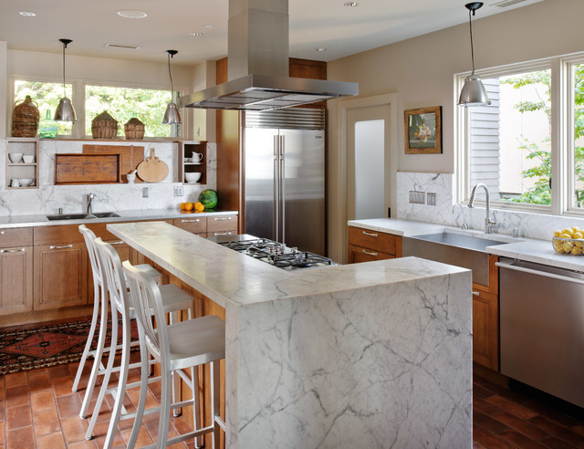 Zephyr Hoods Kitchen Contemporary with Brick Floor Carrera Marble