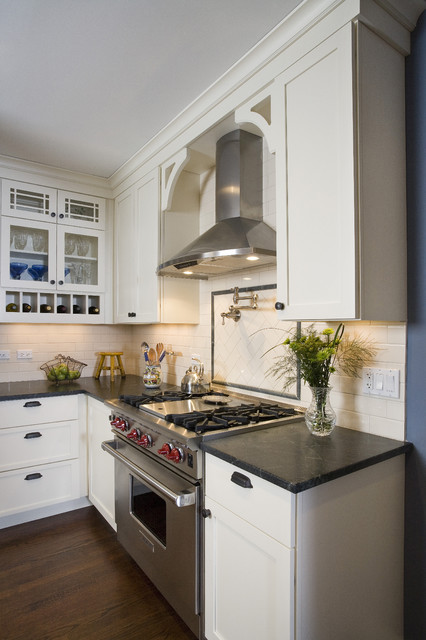 zephyr hoods Kitchen Traditional with bin pulls chimney hood